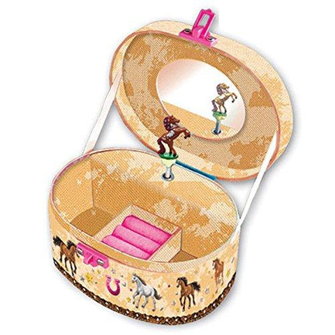 Image of Hot Focus Dashing Horse Oval Shaped Musical Jewelry Box