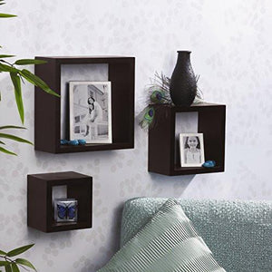 Melannco Square Wood Shelves, Set of 3, Espresso - zingydecor