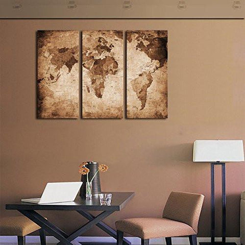 Wall Art Canvas Prints Vintage World Map Painting Ready to Hang - 3 ...