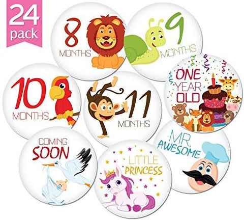 "Image of 24 Pack of 4"" Premium Baby Monthly Stickers By KiddosArt. 1 Happy Animal Sticker Per Month of Your... - zingydecor"