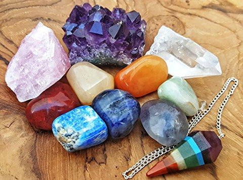 11 pcs Chakra Crystal Healing Kit Lot of 7 Chakra tumbles, Chakra Pendulum, Amethyst Cluster, Raw Rose Quartz, and Crystal Point Bohemian Meditation Set