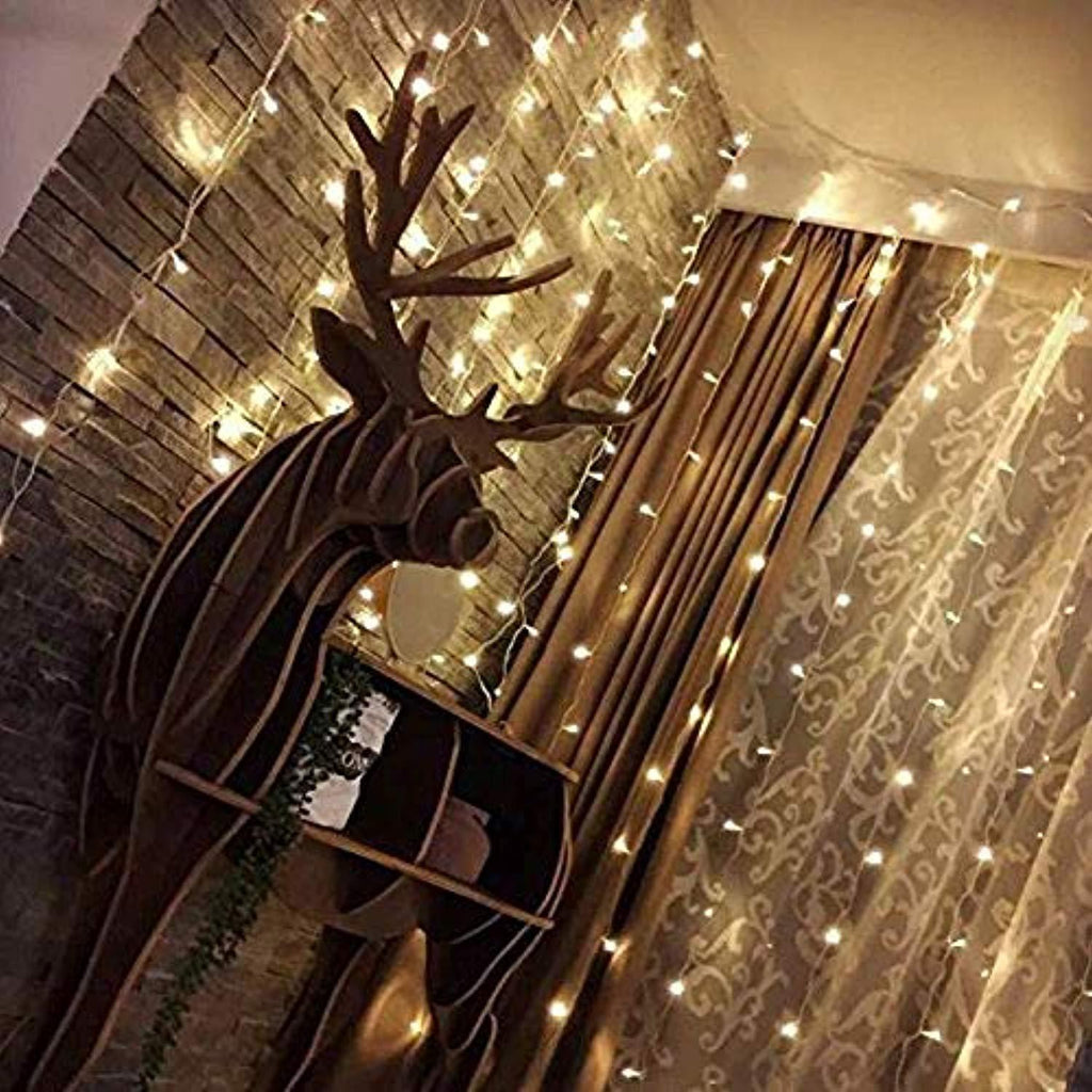 Twinkle star 300 led window curtain string light for - Decorating with string lights indoors ...
