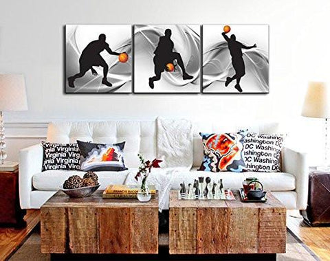 Image of Natural art – Basketball Sports Themed Canvas Wall Art for Boys Room Baby Nursery Décor Kids Room Basketball Boys Gift