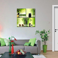 Load image into Gallery viewer, Pyradecor Modern 4 Panel Stretched and Framed Contemporary Zen Giclee Canvas Prints Perfect Bamboo Green Pictures on Canvas Wall Art for Home Office Decorations Living Room Bedroom - zingydecor