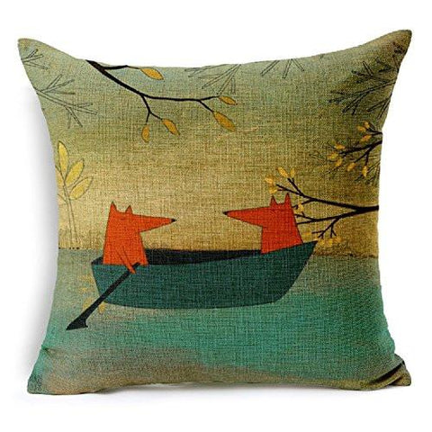 Image of Lee's Int'l Red Fox Thick Cotton Linen Throw Pillow Cover