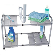 Load image into Gallery viewer, 2 Tier Expandable Adjustable Under Sink Shelf Storage Shelves Kitchen Organizer - zingydecor