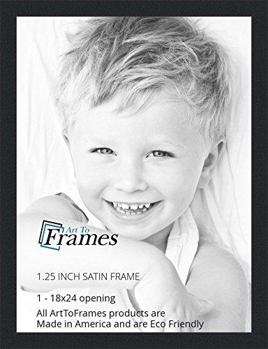ArtToFrames 18x24 inch Satin Black Picture Frame, WOMFRBW26079-18x24