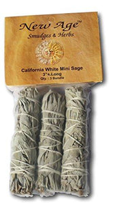 NewAge Smudges and Herbs MCWS3 California Mini Sage Wands, 4-Inch, Pack of 3, White - zingydecor