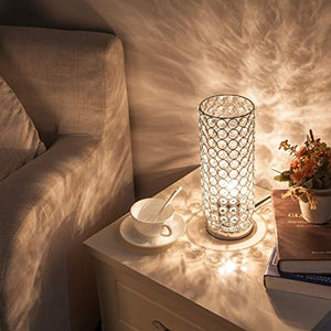 Focondot Crystal Table Lamp Set, Decorative Nightstand Room Lamps, Bedside Night Light lamp, Fashionable Small Table lamp for Bedroom, Living Room, Dresser, Dining Room (2PACK) - zingydecor