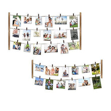Load image into Gallery viewer, Love-KANKEI Wood Picture Photo Frame for Wall Decor 26×29 inch - With 30 Clips & Ajustable Twines - Collage Artworks Prints Multi Pictures Organizer & Hanging Display Frames - zingydecor