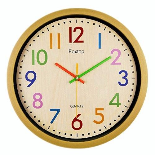 Foxtop 12.5 Inch Silent Non-ticking Colorful Wall Clock Large Decorative Vintage Timer Round Country-Style Plastic Imitation-Wood Clocks (Yellow)