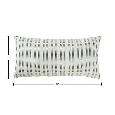 "Stone & Beam French Laundry Stripe Pillow, 12"" x 24"", Ivory, Turquoise"