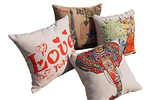 CoolDream Cotton Linen 18 by 18-Inch Decorative Throw Pillow Cover, Multicolor Elephant