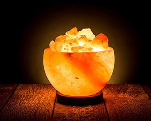 Hand Crafted HemingWeigh Rock Salt Bowl Lamp with Salt Chips, Wood Base, Electric Wire & Bulb