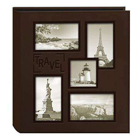 Image of Pioneer Collage Frame Embossed Travel Sewn Leatherette Cover Photo Album, Brown - zingydecor