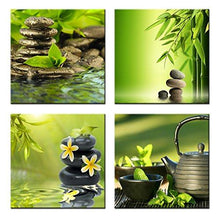 Load image into Gallery viewer, Home Art Contemporary Art Zen Giclee Canvas Prints Framed Canvas Wall Art for Home Decor Perfect 4 Panels Wall Decorations for Living Room Bedroom Office Each Panel Size:12x12inch - zingydecor