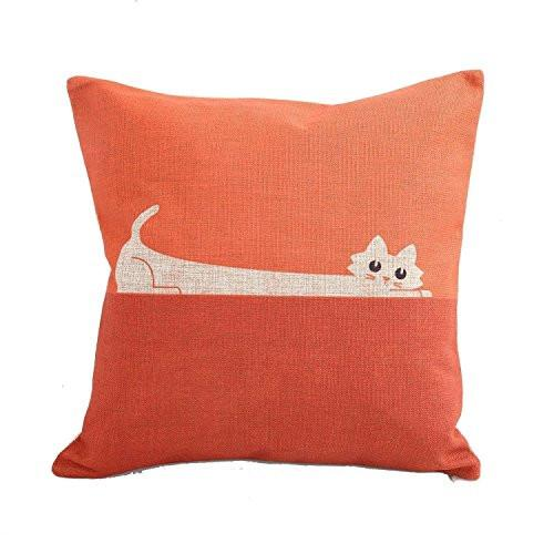 CoolDream Home Decor Sofa Orange Cat Cotton Throw Pillow Cover 18X18''
