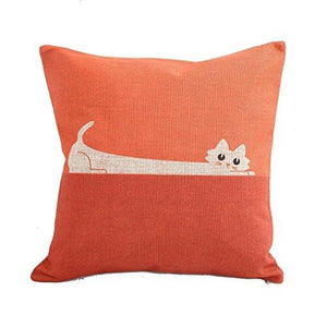 CoolDream Home Decor Sofa Orange Cat Cotton Throw Pillow Cover 18X18'' - zingydecor