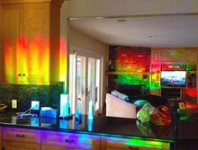 "Load image into Gallery viewer, Decorative Window Film Holographic Prismatic Etched Glass Effect - Fill Your House with Rainbow Light 24"" X 36"" Panel - Crystal Pattern - zingydecor"