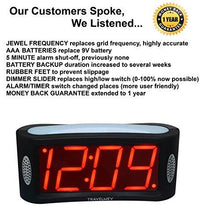 Load image into Gallery viewer, Travelwey LED Digital Alarm Clock - No Frills Simple Operation, Large Night Light, Alarm, Snooze, Brightness Dimmer, Big Red Digit Display, Black