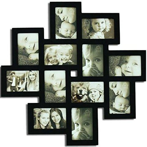 "Image of Adeco Decorative Black Wood Wall Hanging Collage Picture Photo Frame, 12 Openings, 4x6"" - zingydecor"