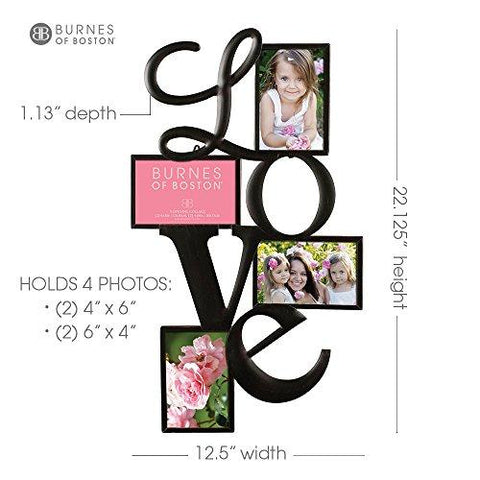 "Image of Burnes of Boston Traditional Oil Rubbed Bronze ""LOVE"" Collage Wall Frame #542540. Fits Four 4x6 Images Or Photos"