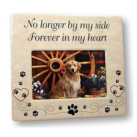 Image of Pet Memorial Ceramic Picture Frame - No Longer By My Side Forever in My Heart - Loss of a Pet Gift - Pet Photo Frame - Pet Sympathy Gift - In Memory of a Pet - zingydecor