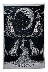 Crying Wolf and Moon Tapestry Wall Hanging, Indian Cotton Black and White Moon Tapestries Hippie Mandala, Boho Bedding Bohemian Bedspread, Yoga Mat Meditation Rugs 54x84 inches - zingydecor