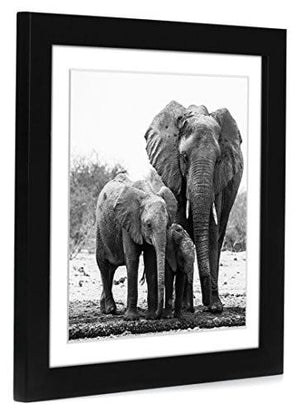 11x11 Black Picture Frame - Matted to Fit Pictures 8x8 Inches or 11x11 Without Mat - Hanging Hardware Included