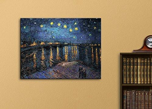 "Canvas Print Wall Art - Starry Night over The Rhone by Vincent Van Gogh Reproduction on Canvas Stretched Gallery Wrap. Ready to Hang - 24""x32"""