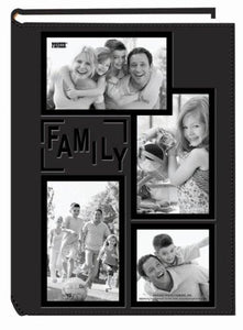 "Pioneer Collage Frame Embossed ""Family"" Sewn Leatherette Cover 300 Pocket Photo Album, Black - zingydecor"