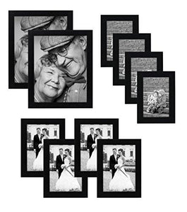 10-piece Multi Pack Black Picture Frame Value Set - Set of 10 Picture Frames - Two 8x10 Inches, Four 5x7 Inches, Four 4x6 Inches - Glass front on each frame - Hanging Hardware Included - zingydecor