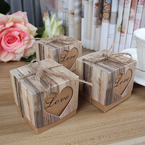 Image of AerWo 50pcs Candy Favor Boxes Vintage Kraft Bonbonniere + 50pcs Burlap Twine, Love Heart Imitation Bark Gift Bag for Wedding Party Birthday Bridal Shower Decoration