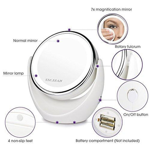 Double Sided Natural LED Lighted Makeup Mirror,1x/7x Magnifying,Anti fog  Design.
