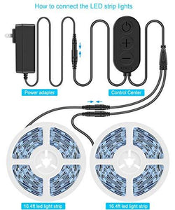 Dimmable LED Strip Lights, MINGER White Strip Light LED Mirror Lights Kit for Vanity Makeup Dressing Table 6000K Bright White Daylight, 300 LEDs, 16.4FT Under Cabinet Lighting Strips for Kitchen - zingydecor