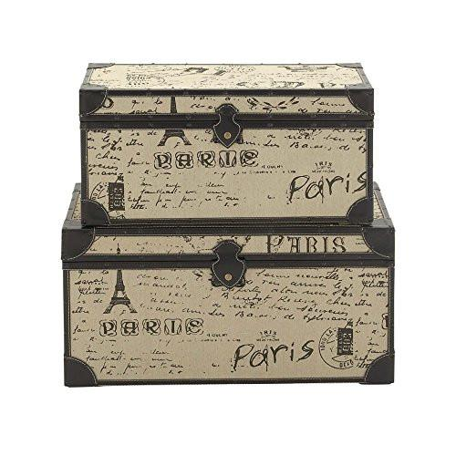 Deco 79 Wood Burlap S/2 Trunk, 17 by 17 by 30-Inch, Black