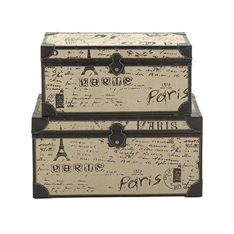 Image of Deco 79 Wood Burlap S/2 Trunk, 17 by 17 by 30-Inch, Black