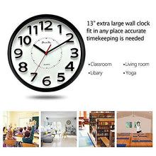 Load image into Gallery viewer, DreamSky 13 Inch Large Wall Clock , Non-Ticking Silent Quartz Decorative Clocks , Battery Operated, Round Retro Indoor Outdoor Kitchen Bedroom Living Room Wall Clocks , Big 3D Number Display. - zingydecor