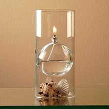 Load image into Gallery viewer, The Modern Transcend Clear Glass Oil Lamp Gift Set is a Unique Gift for Her. The Bliss Oil Candle Appears to Float in the Hurricane Candle Holder - Includes 16 oz. Smokeless Lamp Oil and a Funnel - zingydecor