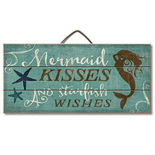 "Highland Graphics Beach Decor Wood Sign Reads ""Mermaid Kisses and Starfish Wishes"" Table or Wall Decor"