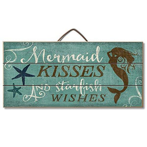 "Highland Graphics Beach Decor Wood Sign Reads ""Mermaid Kisses and Starfish Wishes"" Table or Wall Decor - zingydecor"