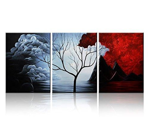 Santin Art- Modern Abstract Painting the Cloud Tree High Q. Wall Decor Landscape Paintings on Canvas 12x16inch 3pcs Stretched and Framed Ready to Hang - zingydecor