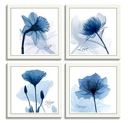 HLJ Arts 4 Panels Crystal Theme Giclee Flickering Blue Flowers Printed Paintings on Canvas for Wall Decor 12x12inches 4pcs/set (Blue)