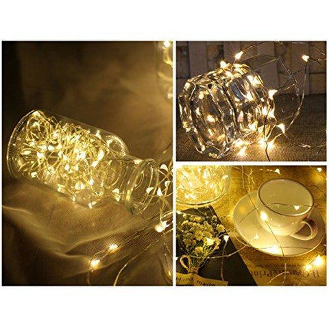 Image of FRIEET Starry String Lights, 12 Pack Fairy Lights Battery Operated, 7.2ft 20LED Christmas Lights Silver Coated Copper Wire Lights Firefly Lights Moon Lights for Party Christmas Decorations(White)