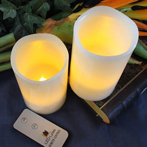 Image of Flameless Candles with Remote by LED Lytes, 2 Amber Yellow Flickering Faux Pillars, Fake Battery Operated Candle Light for Weddings and Parties