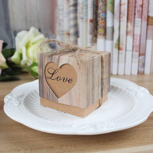 AerWo 50pcs Candy Favor Boxes Vintage Kraft Bonbonniere + 50pcs Burlap Twine, Love Heart Imitation Bark Gift Bag for Wedding Party Birthday Bridal Shower Decoration - zingydecor