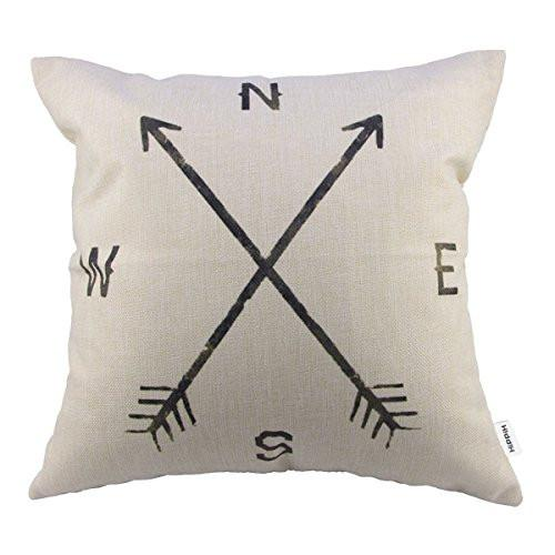 4 Packs Hippih Cotton Linen Sofa Home Decor Design Throw Pillow Case Cushion Covers 18 X 18 Inch ,1x Deer Antlers + 1x Feathers + 1x Compass + 1x Navigation Compass