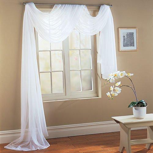 "Beautiful White Elegance Window Sheer Voile Scarf 60"" X 216"" - zingydecor"