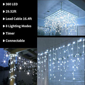 Toodour LED Icicle Lights, 360 LED, 29.5ft, 8 Modes, Window Curtain Fairy Lights with 60 Drops, Led Christmas Lights, Icicle Fairy Twinkle Lights for Holiday, Party, Wedding Decorations (Pure White)