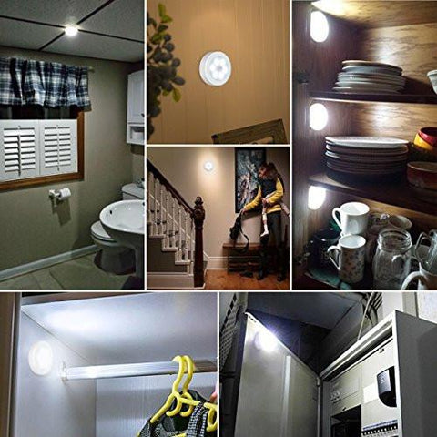 Image of AMIR Motion Sensor Light, Cordless Battery-Powered LED Night Light, Stick-anywhere Closet Lights Stair Lights, Safe Lights for Hallway, Bathroom, Bedroom, Kitchen, etc. (White - Pack of 3) - zingydecor